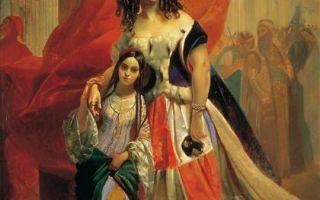 Брюллов «портрет графини ю.п. самойловой, удаляющейся с бала с приемной дочерью амацилией пачини» описание картины, анализ, сочинение