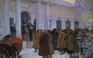 Кустодиев борис «чтение манифеста» описание картины, анализ, сочинение